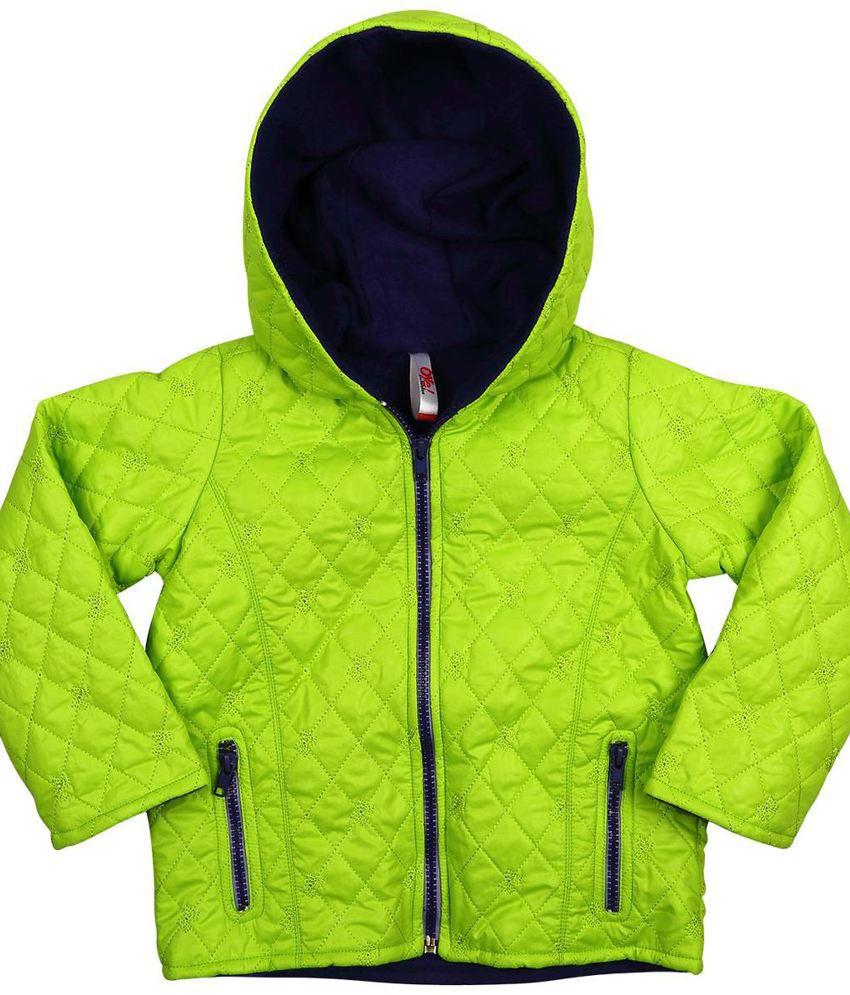 Oye Green Synthetic Padded Jacket With Hood