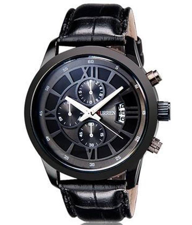 curren luxury men sports watch black best price in india