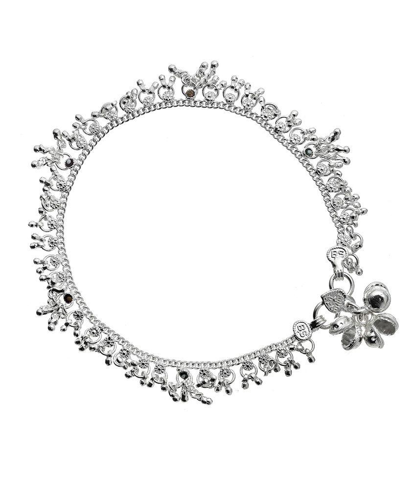 Mrigya Silver Spark Design Alloy Anklet