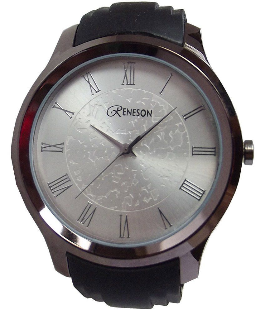 Reneson Black Silicon Round Casual Men's Watche