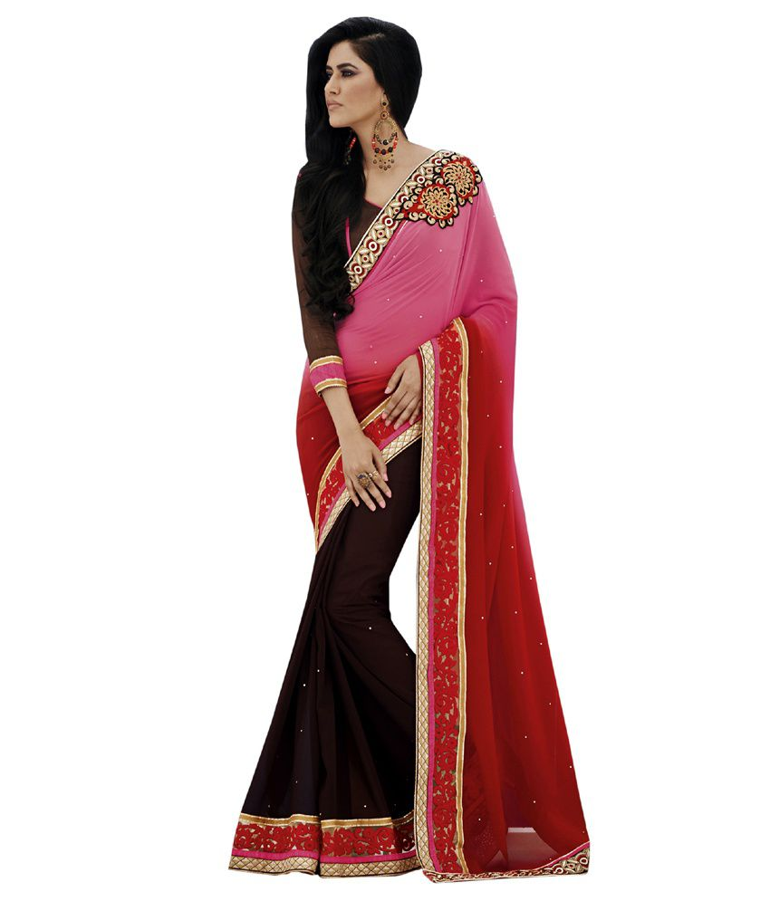 Resham Fabrics Multi Color Faux Georgette Saree