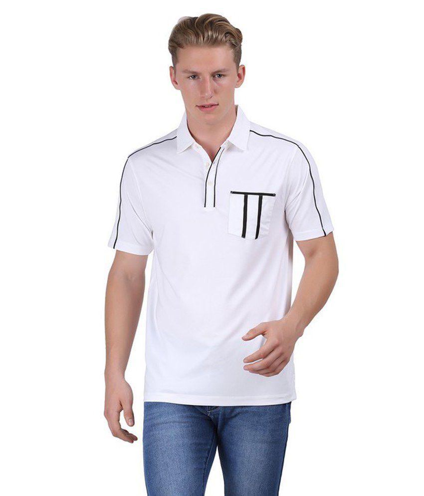 Euro open white polyester half sleeves polo t shirts for for Polyester t shirts for men