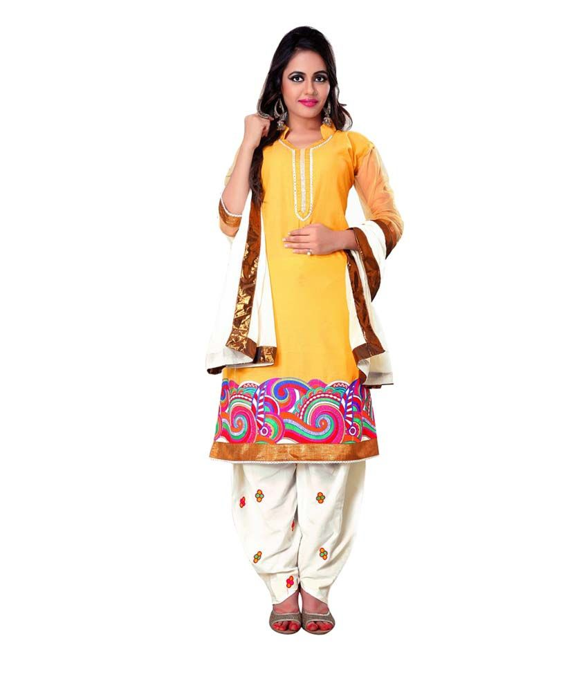 FabPandora Yellow Cotton Designer Embroidered Dress Material