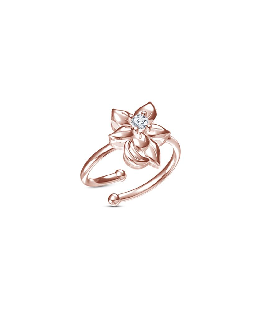 Vorra Fashion 14K Rose Gold Plated 925 Silver CZ Classy Look Design Daisy Flower Adjustable Ring