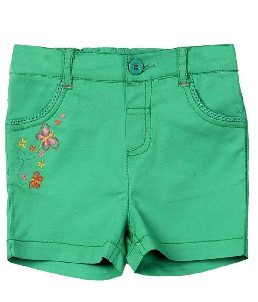Beebay Patch Work Green Cotton Shorts