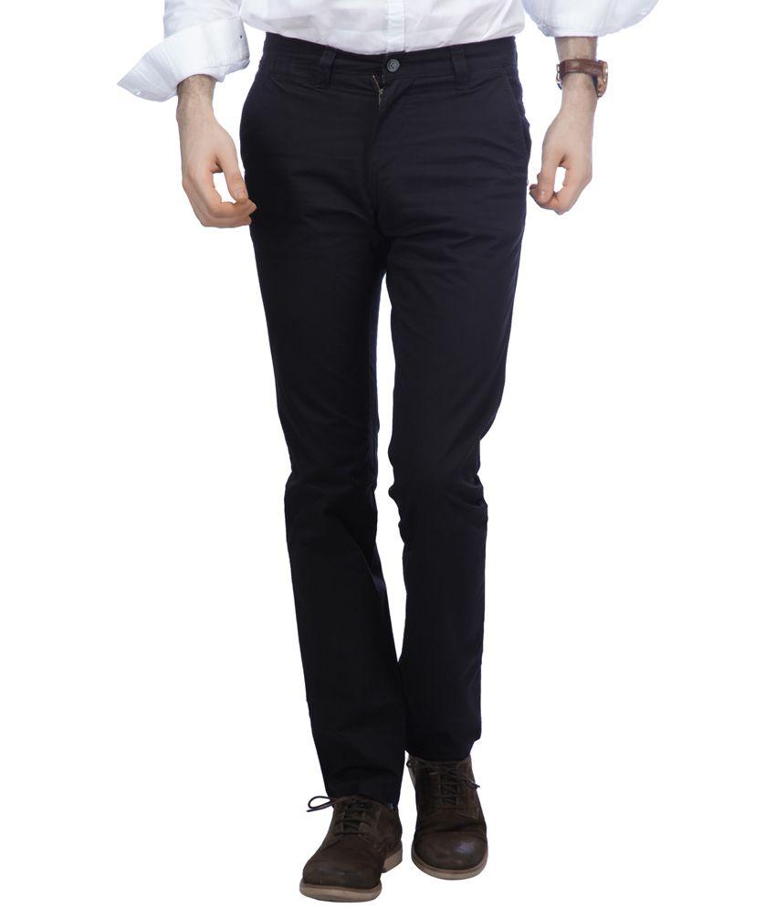 Chewingum Black Cotton Lycra Slim Pant for Men