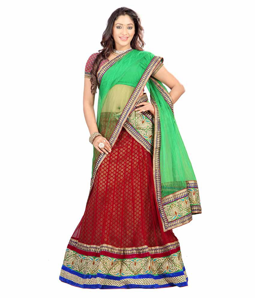 Florence Green and Red Net With Braso Cotton Lehenga