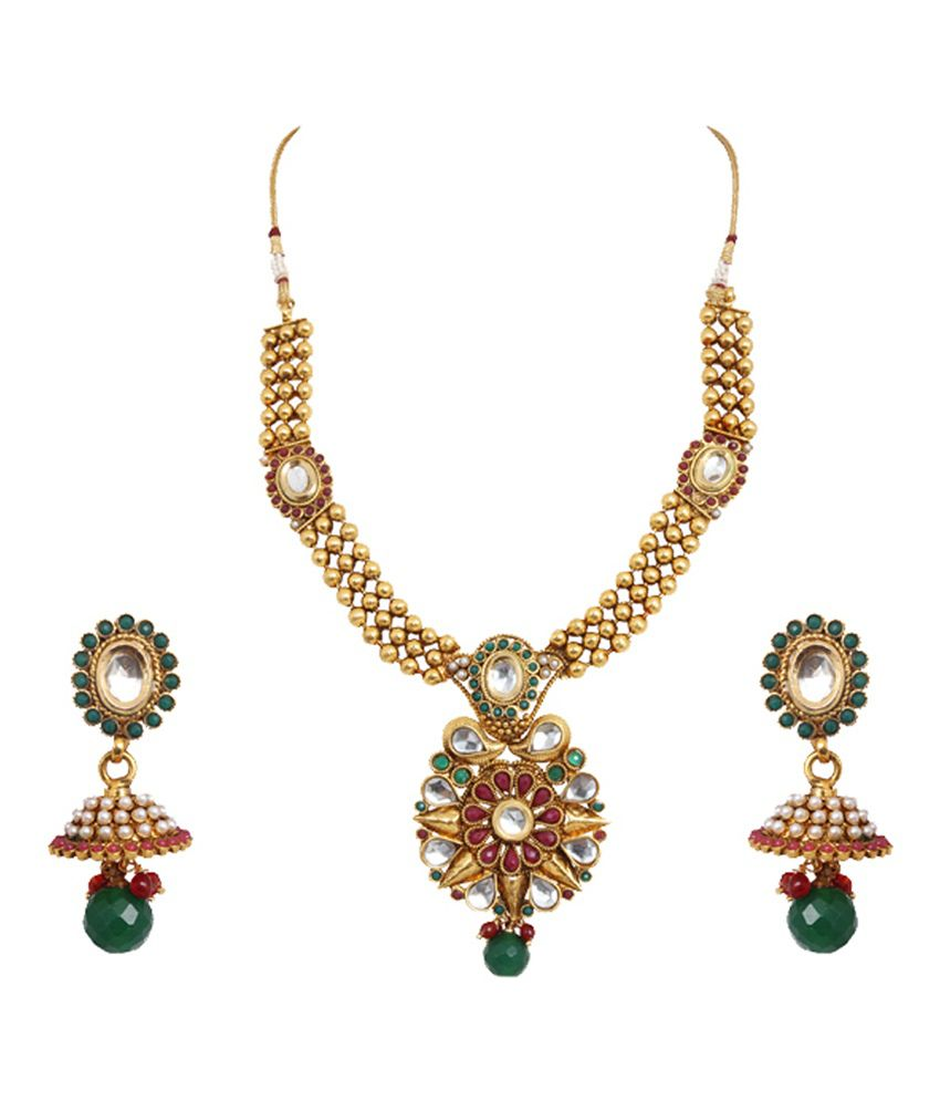Jewelfin Multicolour Alloy Polki Necklace Set