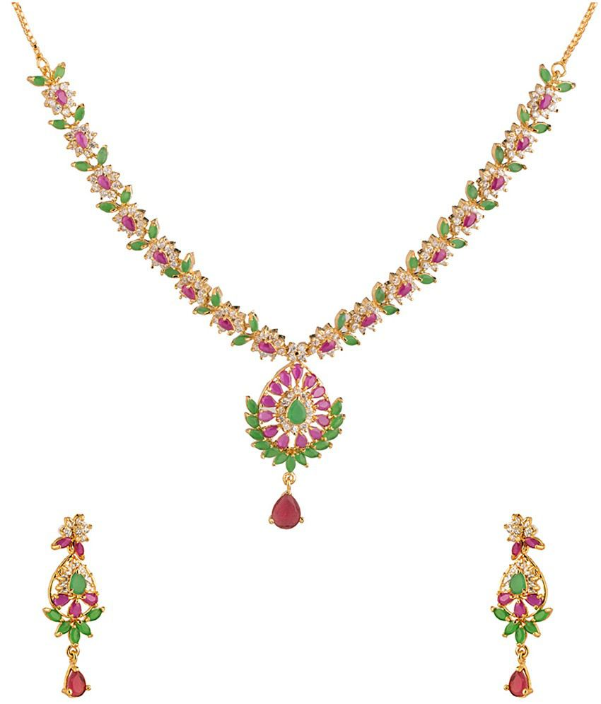 Voylla Green & Red CZ Traditional Necklace Set