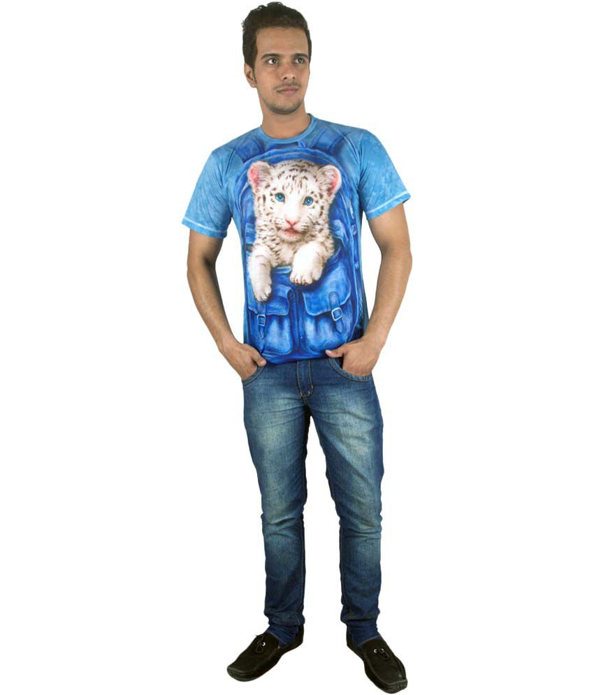 Ushirts Blue Cotton Round Neck Printed T-shirt