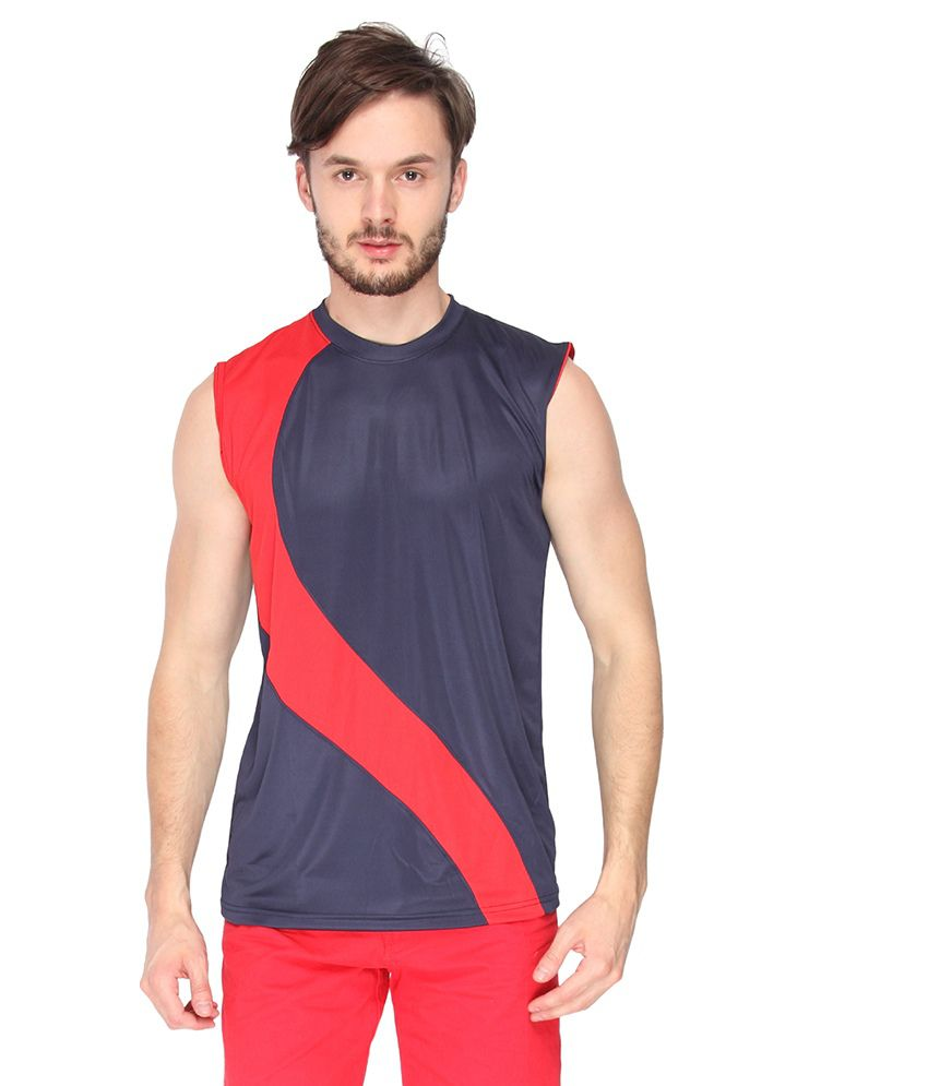 Campus Sutra Blue Dry Fit Sleeveless Tshirt