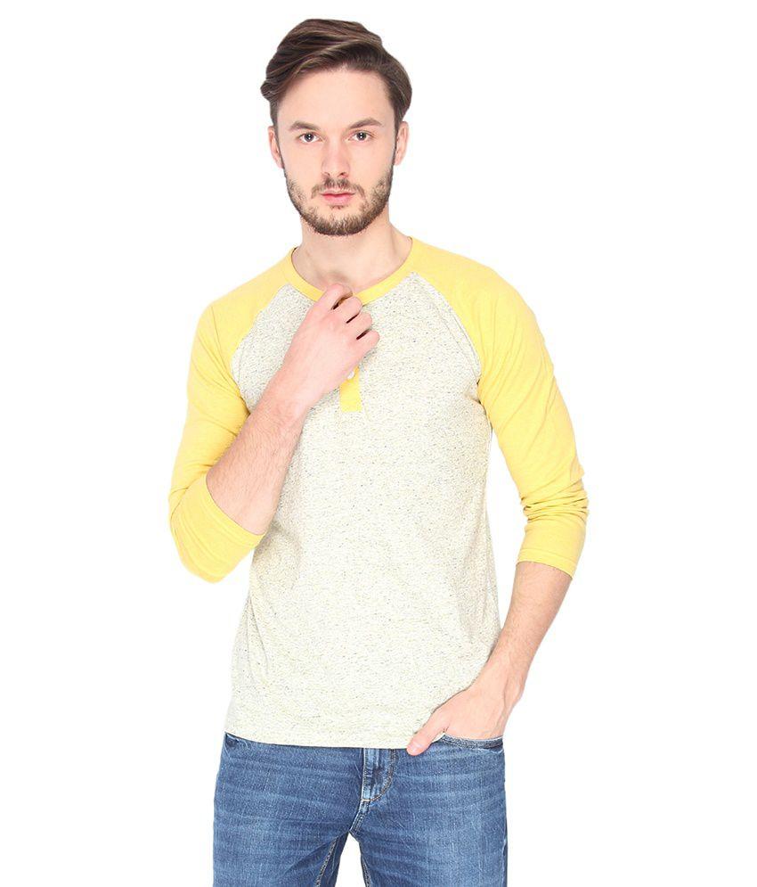 Campus Sutra Cream Melange Raglan Henley Full Sleeve Tshirt