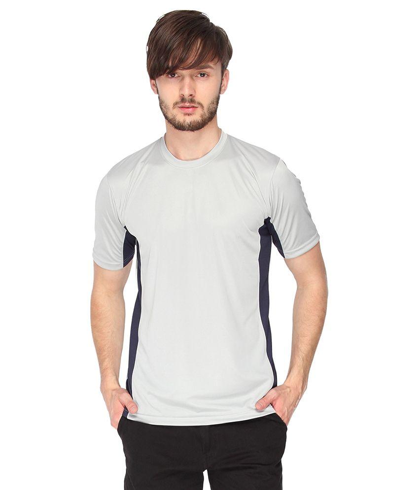 Campus Sutra Grey Dry Fit Half Sleeve Tshirt