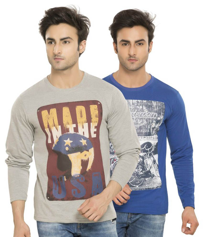 Alan Jones Printed Grey Blue Full Cotton T-Shirt-Pack of 2