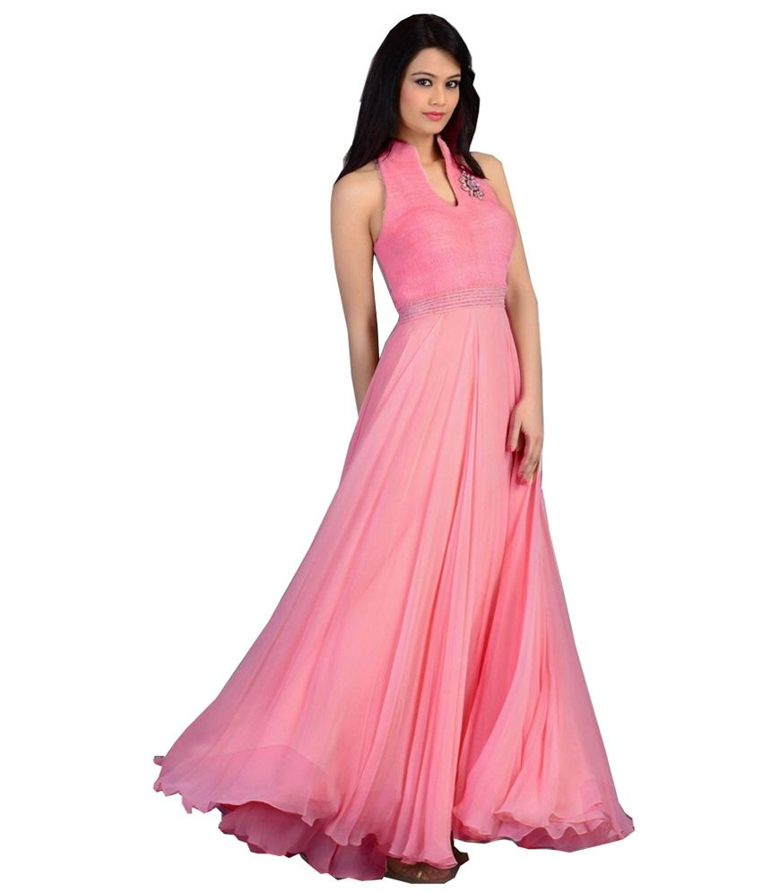 896d472ed3b0 Angel Fashion Pink Designer Georgette Long Partywear Gown Dress - Buy Angel  Fashion Pink Designer Georgette Long Partywear Gown Dress Online at Best  Prices ...