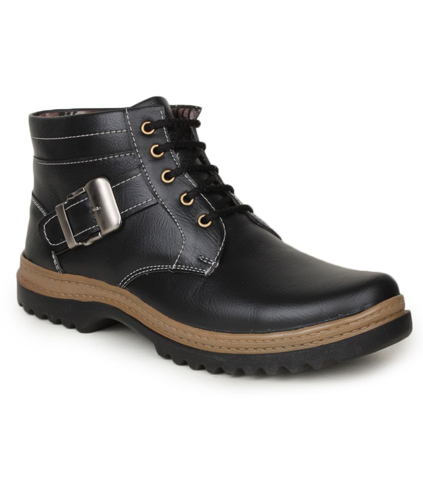 Histeria Black Synthetic Leather Cowboy Boots For Men