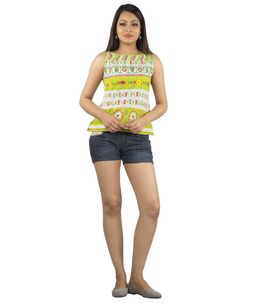 Jaipur Multicolour Cotton Boat Neck Printed Sleeveless Short Kurti
