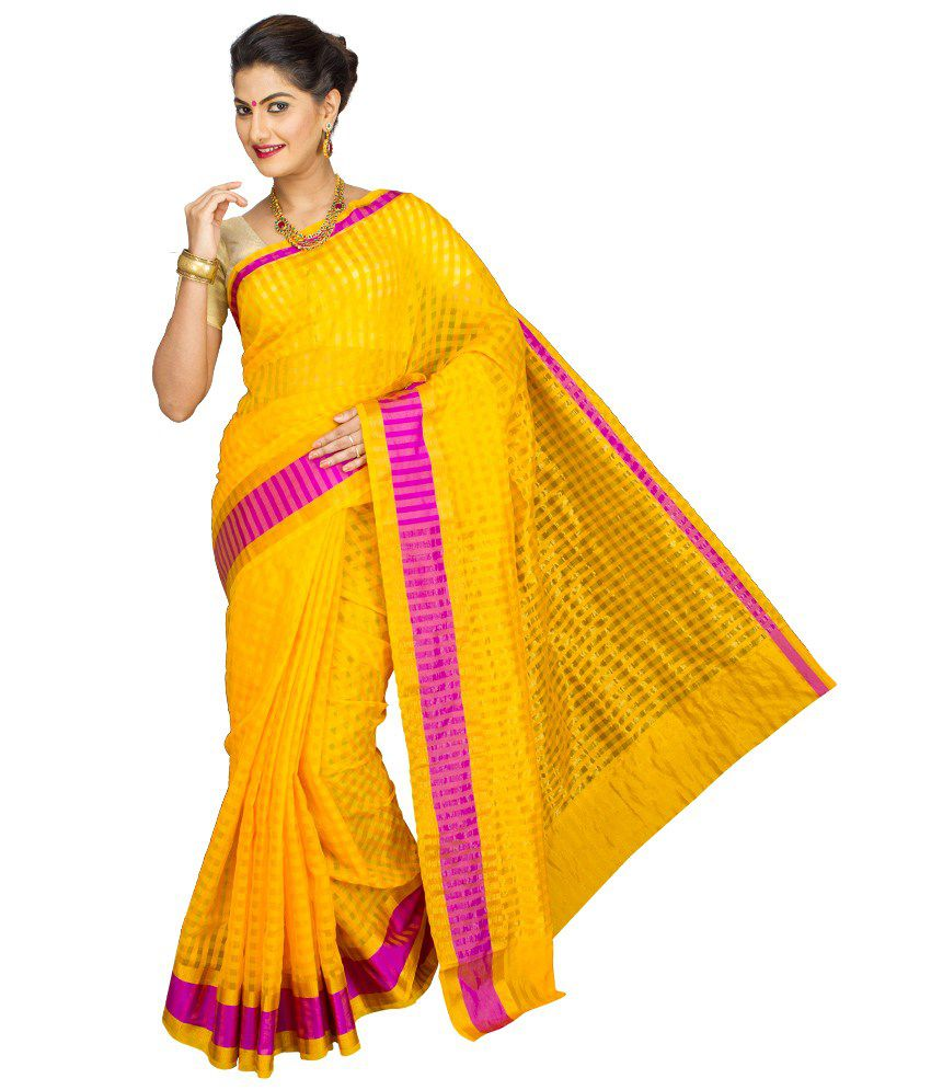 Korni Yellow Cotton Silk Saree