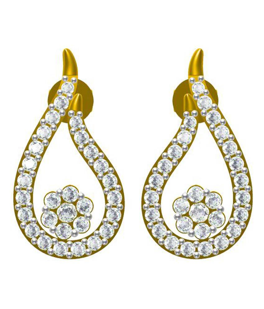 Sakshi Jewels Floral 18kt Gold Diamond Dagling Earrings