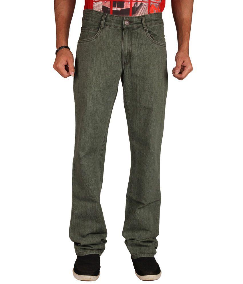 U.S. Rugby Green Stretchable Denim Regular Fit Men's Jeans