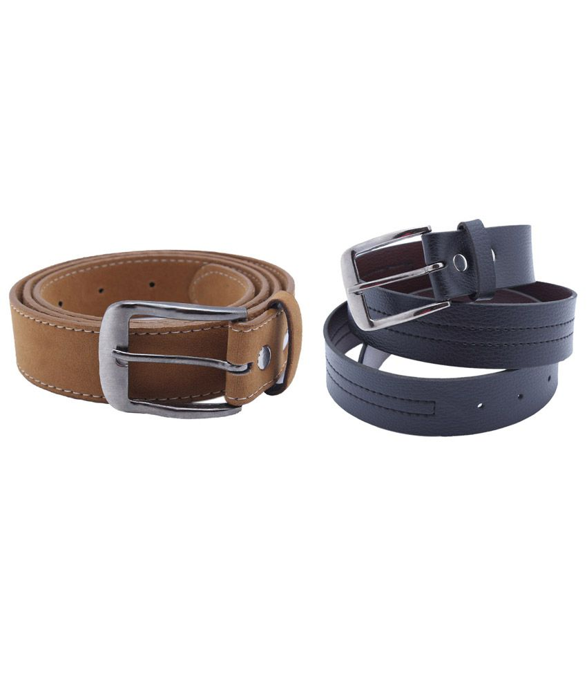 Divya Fashion Multi Leather Men's Belt - Set of 2 Pcs