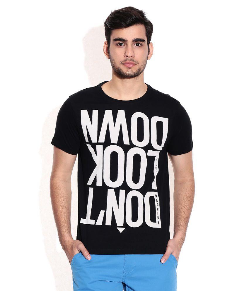 Flying Machine Black Cotton Round Neck T-Shirt