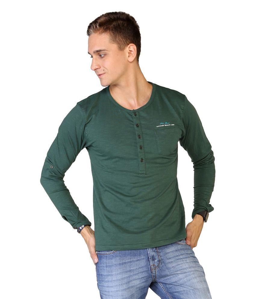 Globus Green Cotton Henley T Shirt