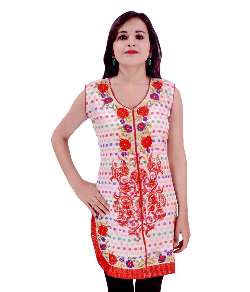 Krazzy Collection White & Red Embroidered Chanderi Kurti With Half Sleeves