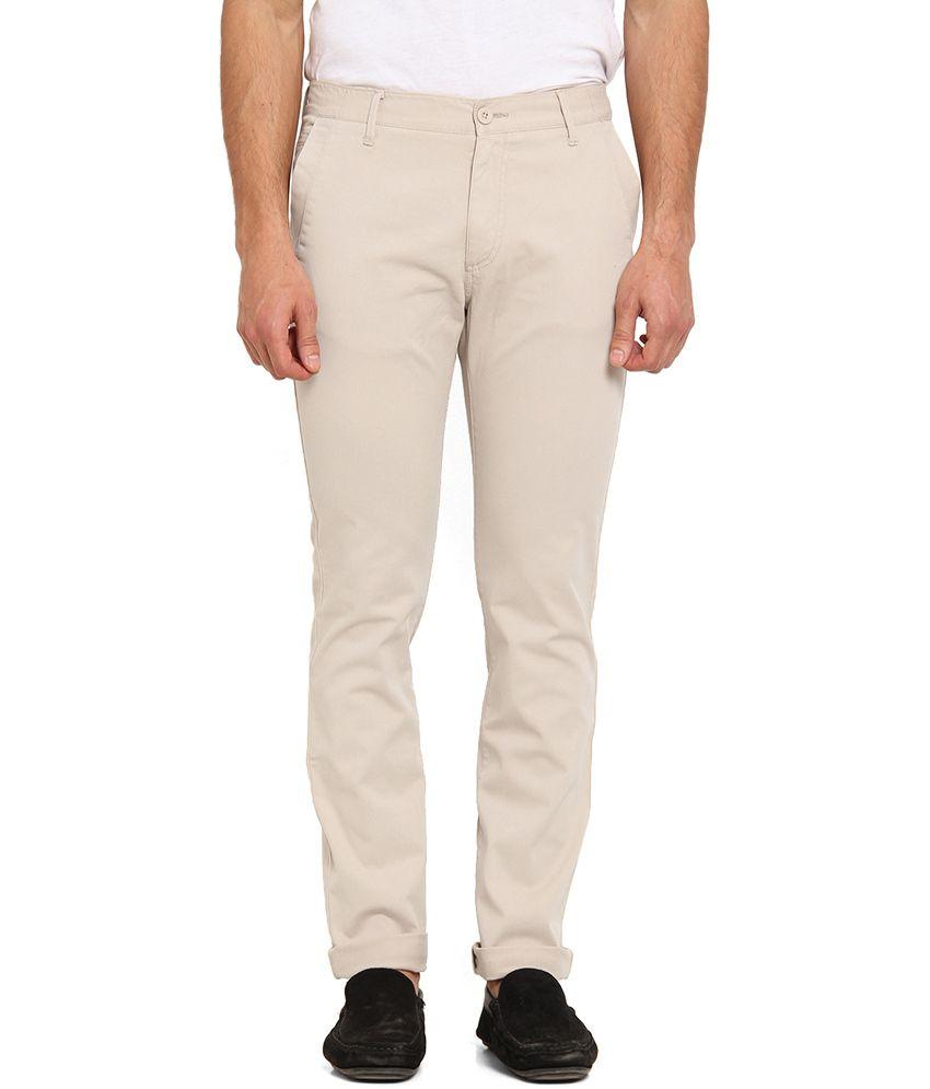 Offline Khaki Cotton Lycra Casual Slim Chinos