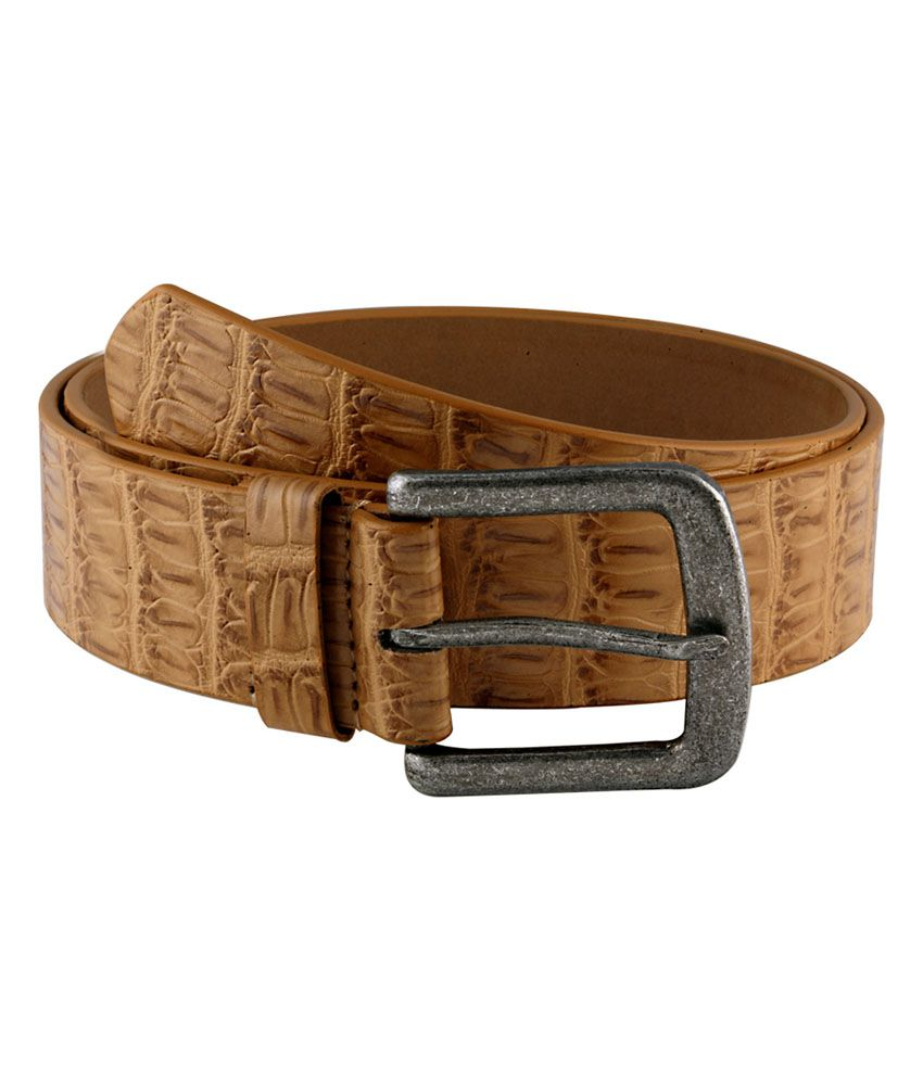Orkee Men Casual Beige Artificial Leather Belt (Beige-9)