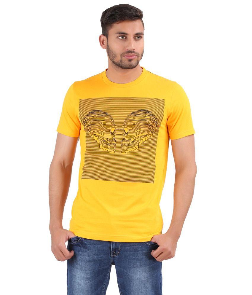 Atli Yellow Cotton Round Neck Printed T-Shirt