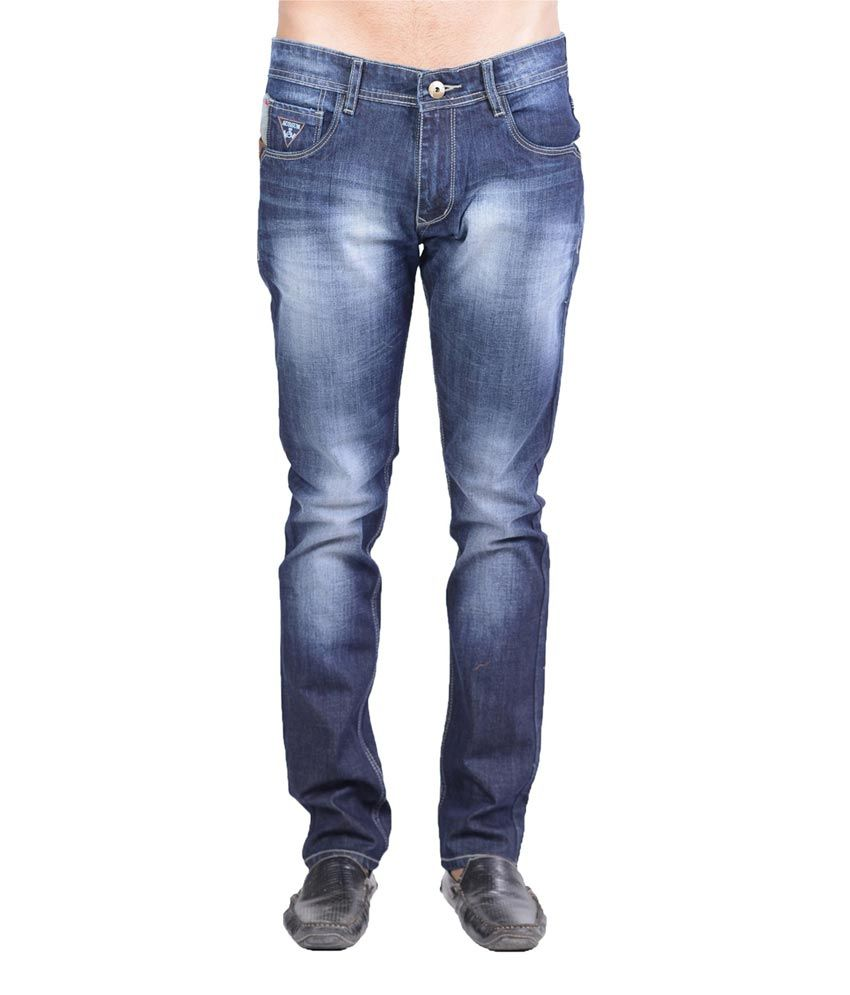 Aussum Navy Cotton Slim Faded Jeans