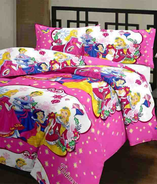 Dirine Mart Pink and White Princess Cartoon Character Print Princess Reversible AC Single Quilt
