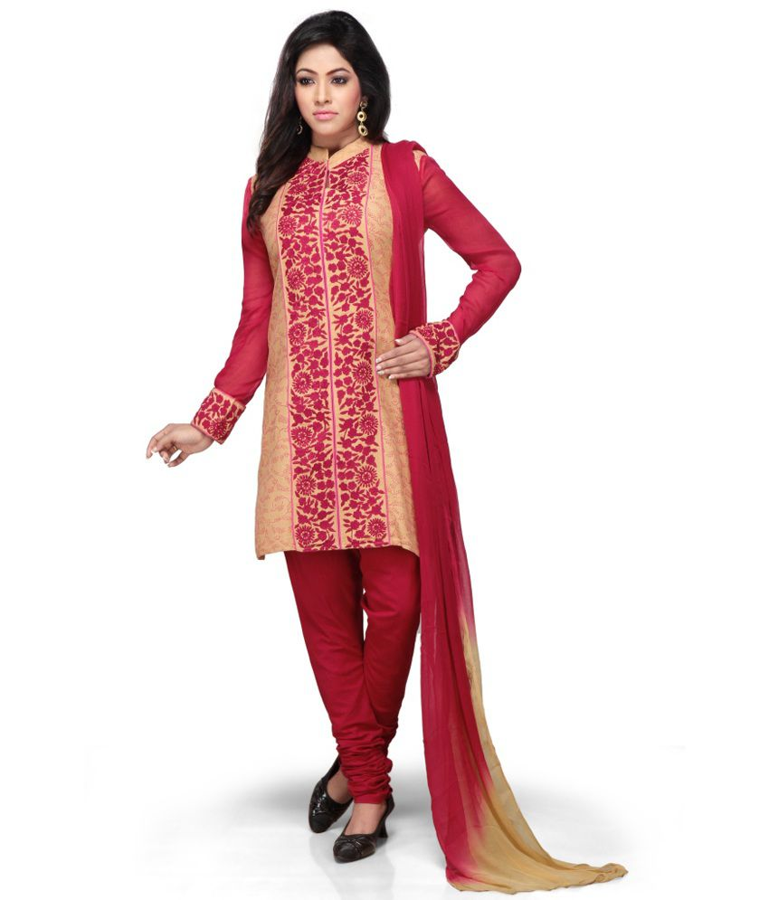 Missprint Beige Printed Cotton Straight Fit Salwar Suits