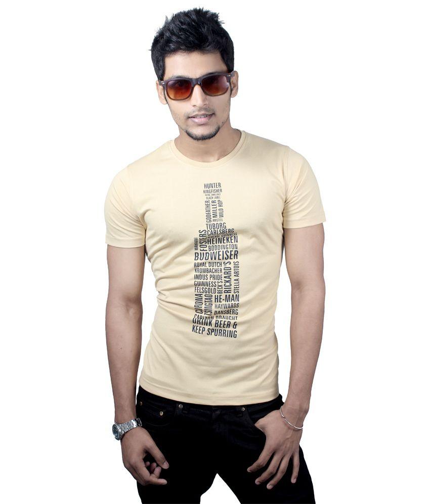 Spur Beige Cotton printed T-shirt