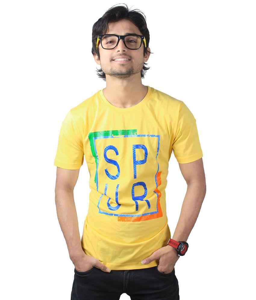 Spur Yellow Cotton Half Sleeve T-Shirt