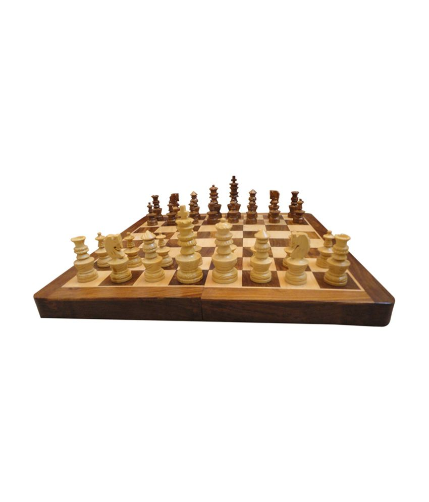 Craft Store India Wooden Board 16 Inchx16 Inch with 4 Inch Chess Set