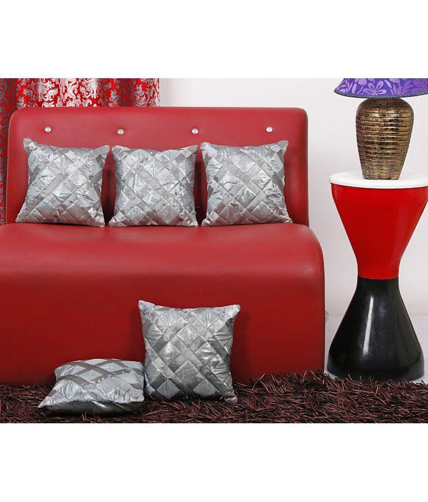 Dekor World Simmer Checks Cushion Cover Silver (Pack of 5)