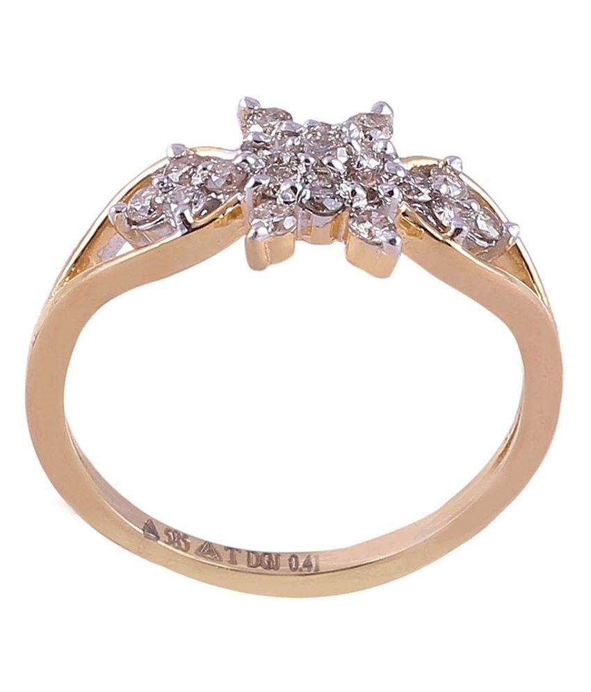 Dhanpati 14kt Gold Floral Diamond Ring