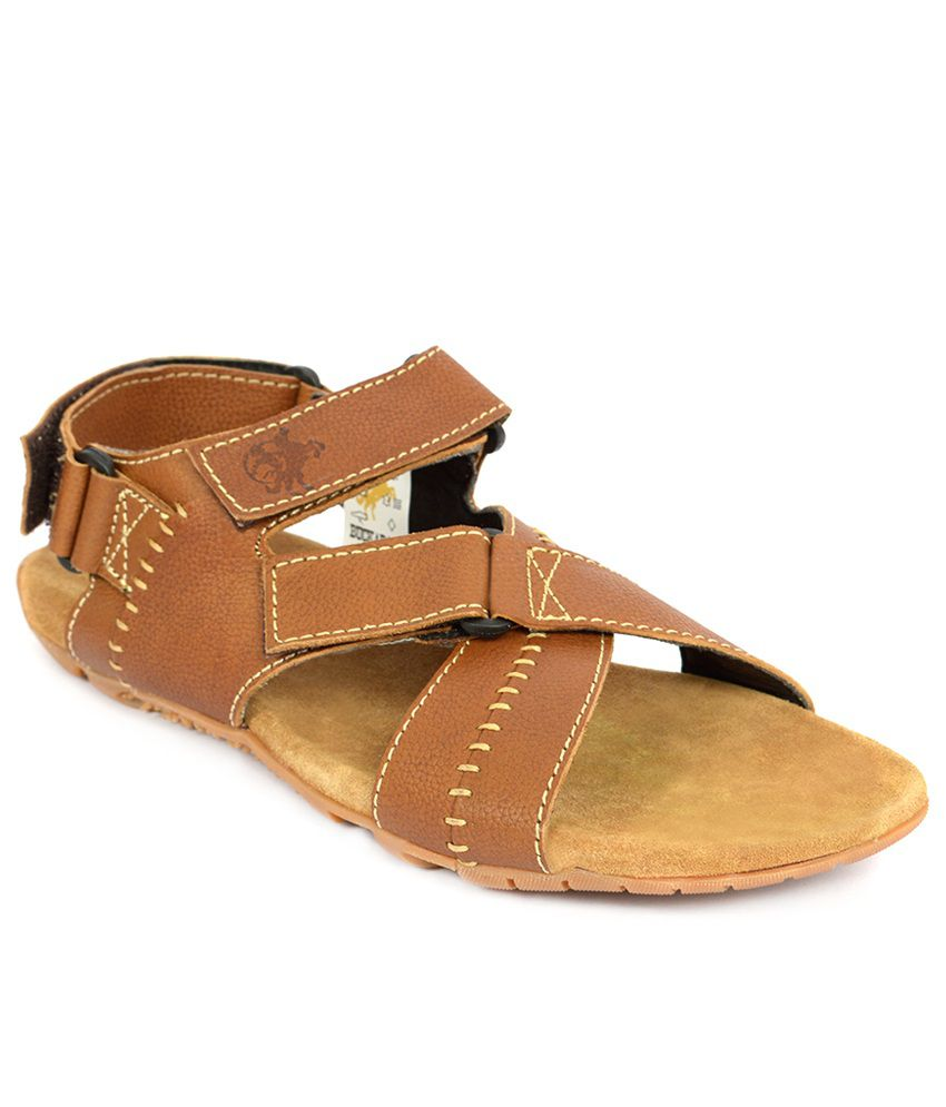 8fe70a73ef92 Buckaroo Men s Tan Marshal Leather Sandals Price in India- Buy Buckaroo  Men s Tan Marshal Leather Sandals Online at Snapdeal