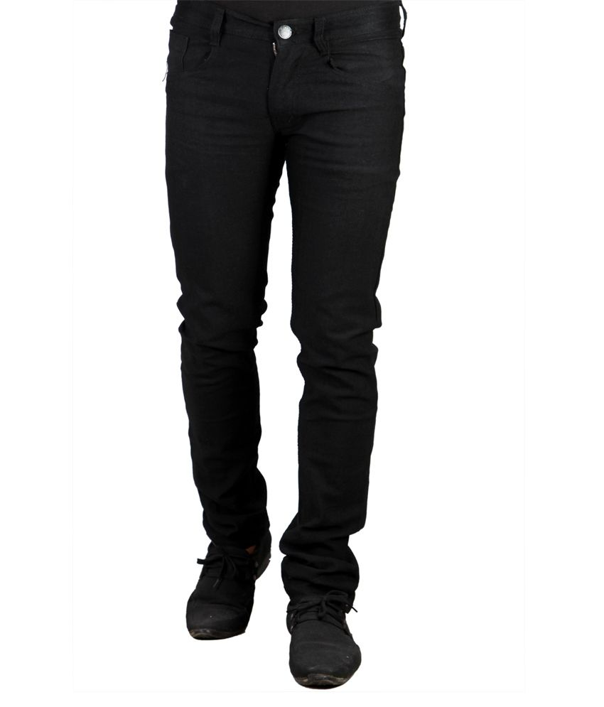X-cross Black Cotton Regular Streachable Jeans
