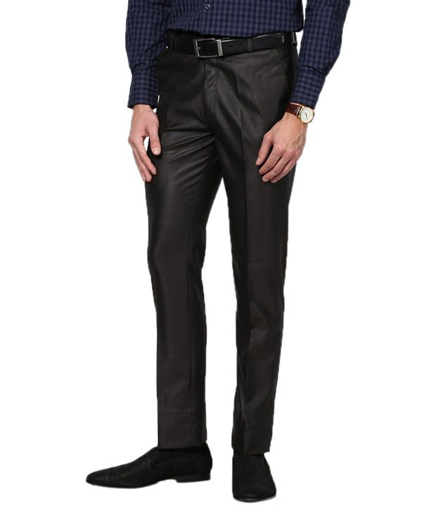 Zaab Brown Cotton Slim Fit Formals Flat Trouser