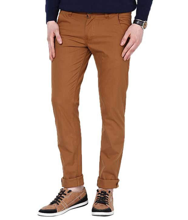 Zaab Goldenrod Cotton Slim Fit Casual Chinos Trouser