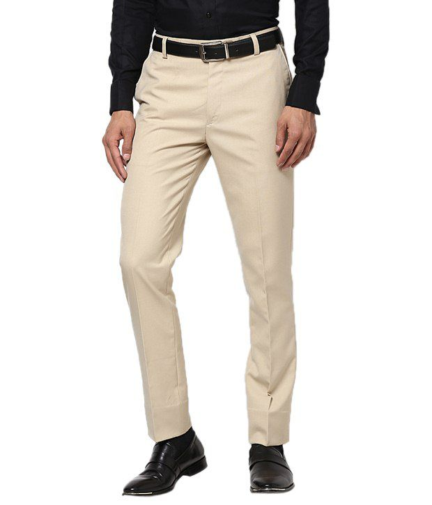 Zeco Beige Cotton Slim Fit Formals Flat Trouser