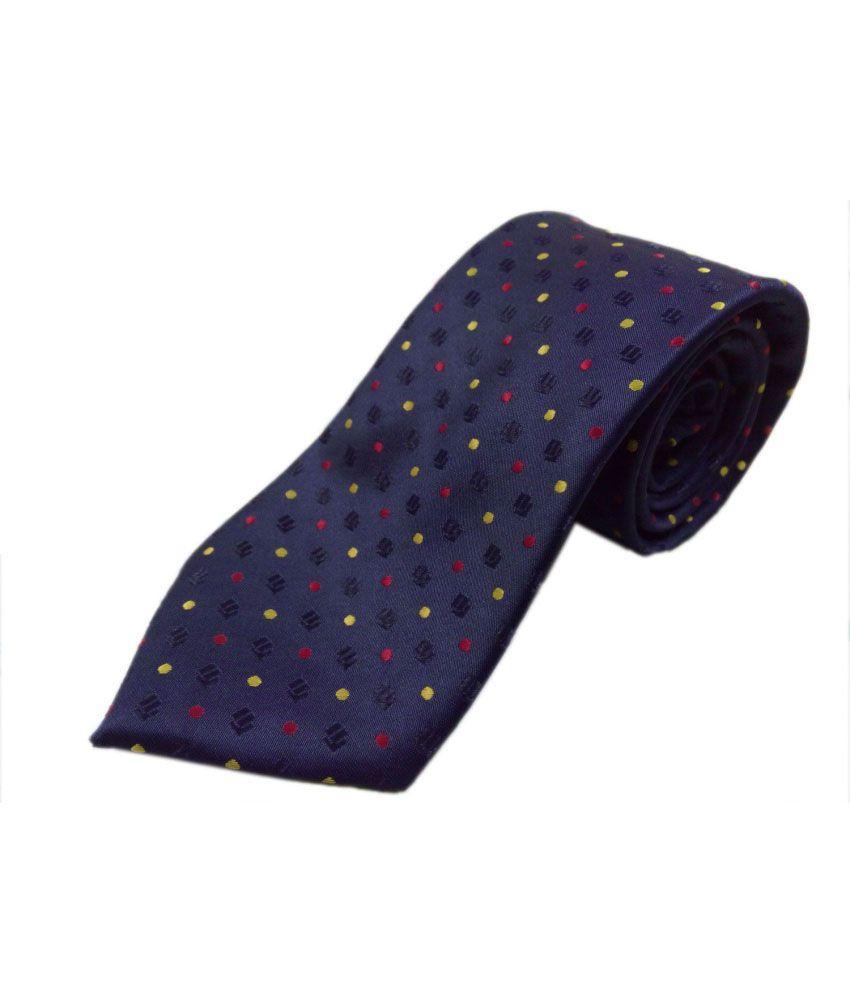 Blacksmithh Navy Blue Polka Dots Formal Tie