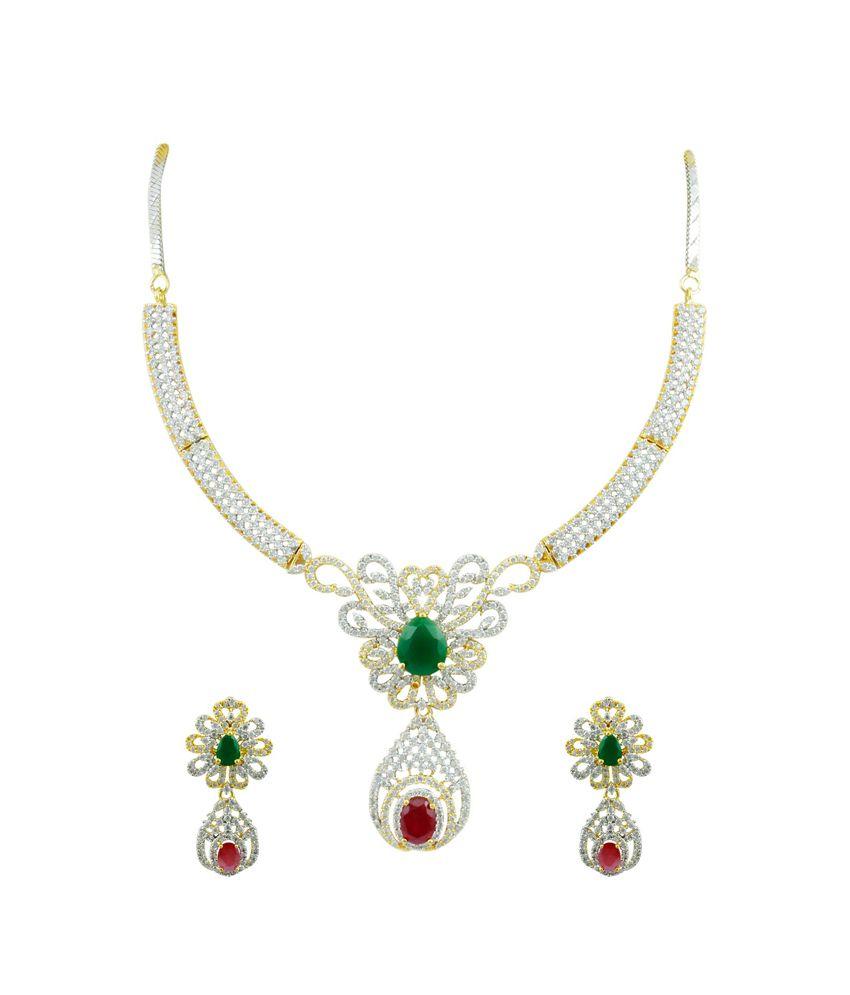 Orniza Shimmering Ruby Emerald CZ Necklace Set