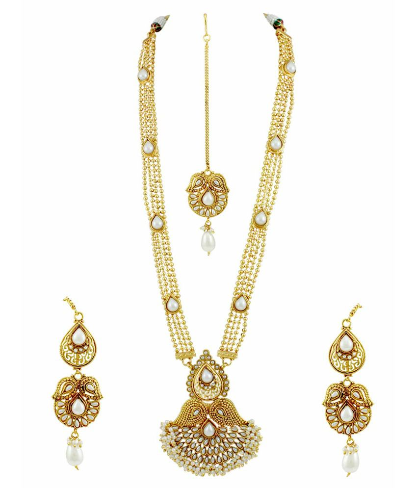 Orniza Ethnic Golden Pearl Long Necklace Tika Earring Set