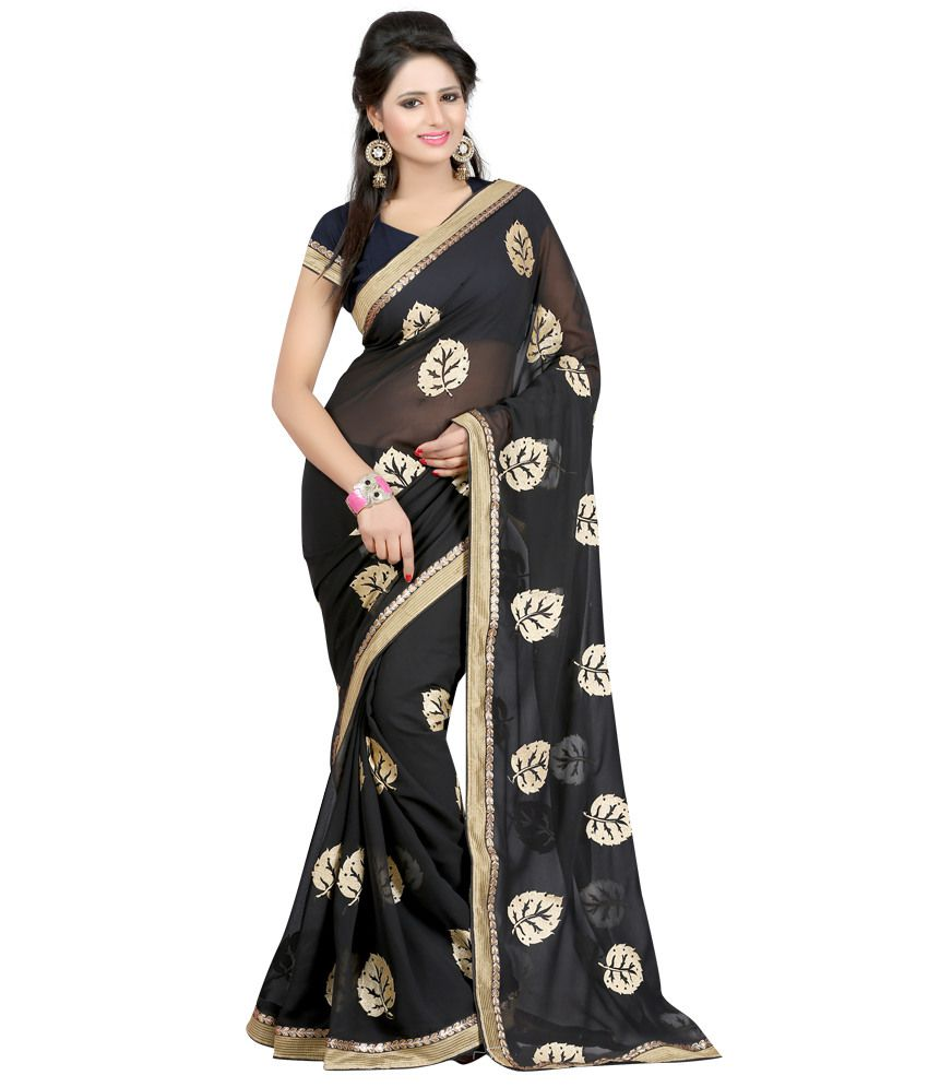 Indian House Gray Faux Georgette Saree