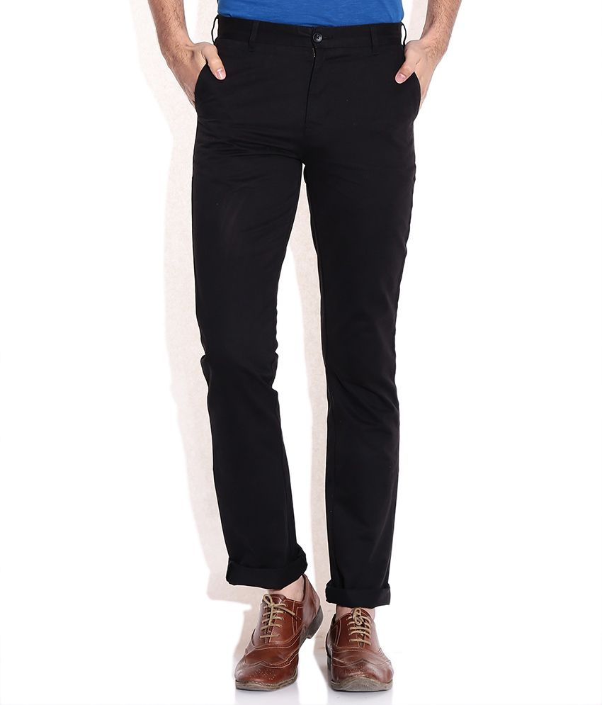 Parx Black Cotton Slim Fit Casual Trousers