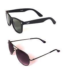 Elligator Black Wayfarer And Gun Metal Aviator Sunglasses Combo